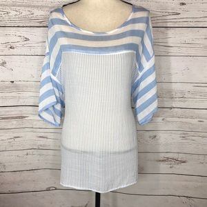 NY Collection Top Short Sleeve Semi-Sheer Striped